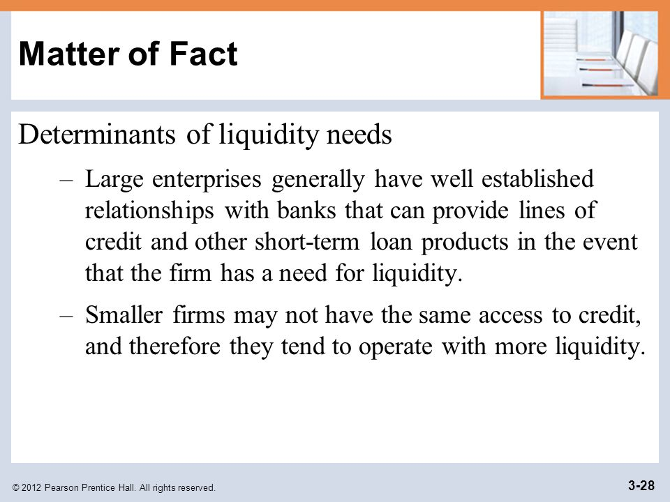 Matter of Fact Determinants of liquidity needs