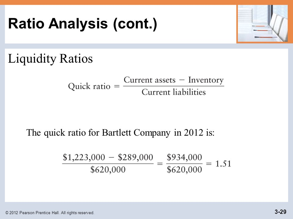 Ratio Analysis (cont.) Liquidity Ratios