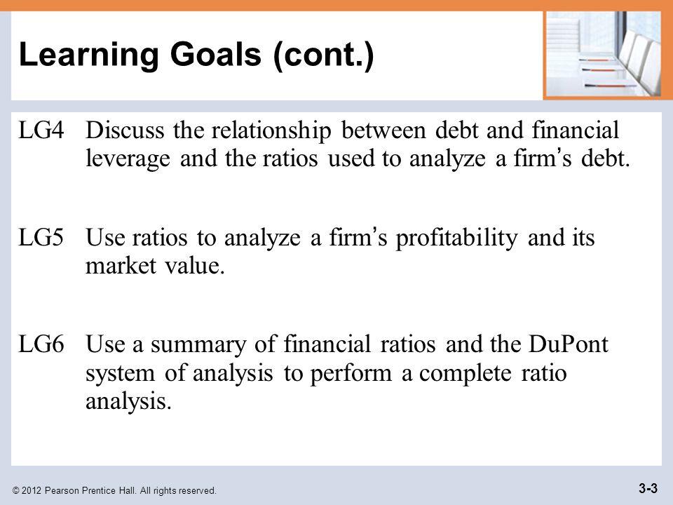 Learning Goals (cont.) LG4 Discuss the relationship between debt and financial leverage and the ratios used to analyze a firm's debt.