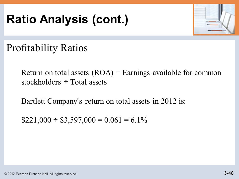 Ratio Analysis (cont.) Profitability Ratios
