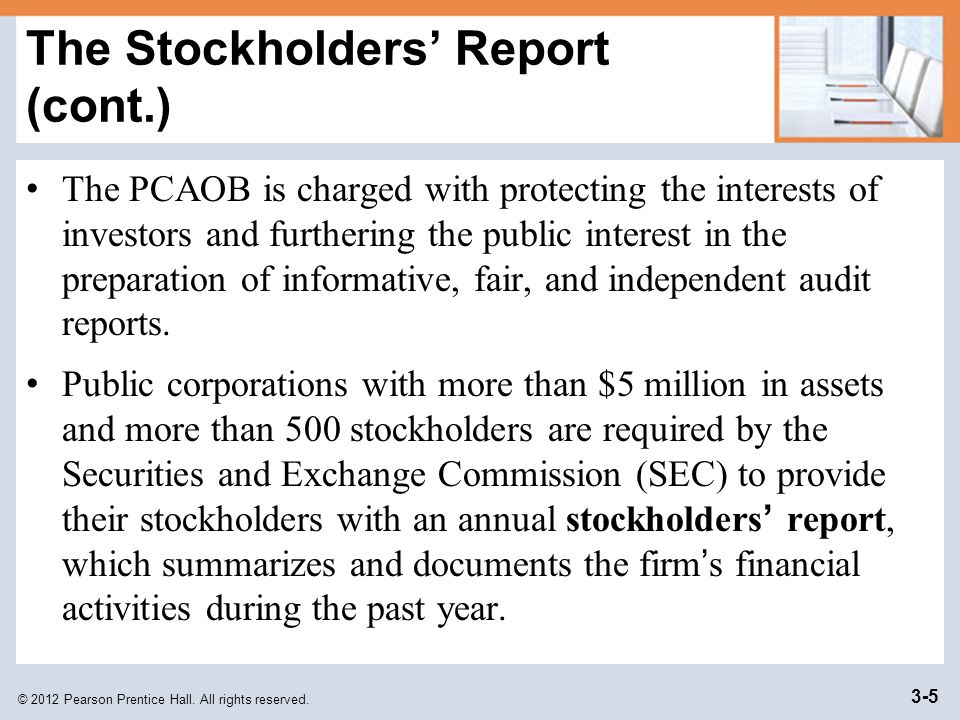 The Stockholders' Report (cont.)