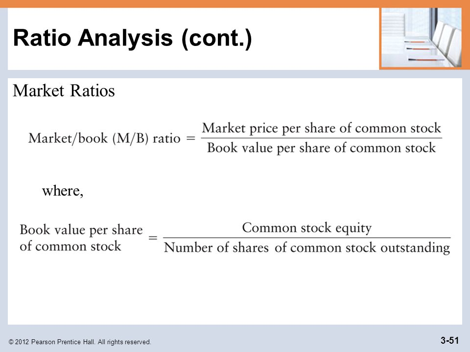 Ratio Analysis (cont.) Market Ratios where,