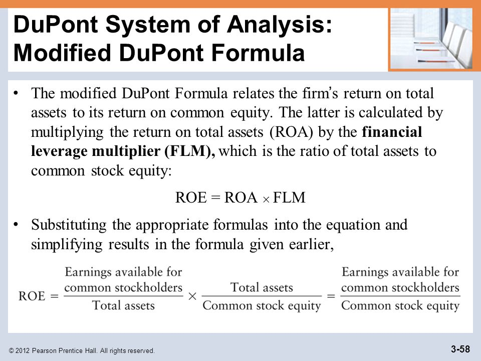 DuPont System of Analysis: Modified DuPont Formula