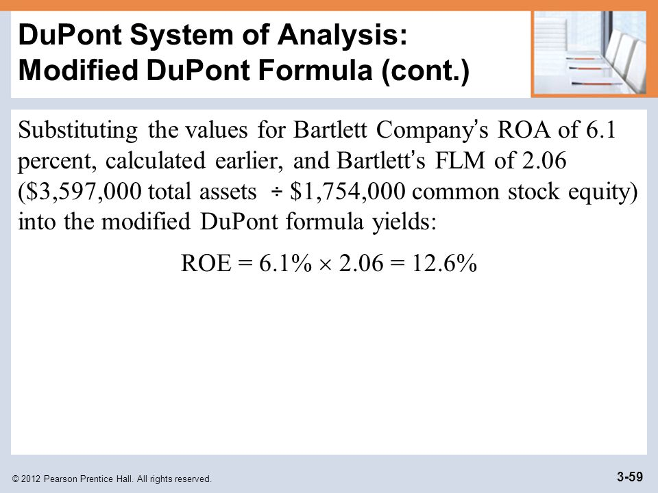 DuPont System of Analysis: Modified DuPont Formula (cont.)