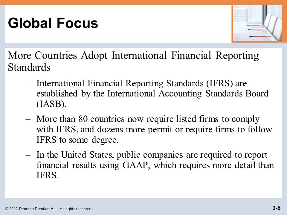 Global Focus More Countries Adopt International Financial Reporting Standards.