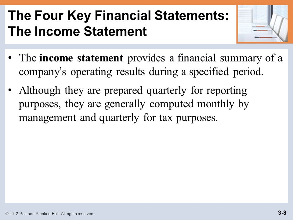 The Four Key Financial Statements: The Income Statement