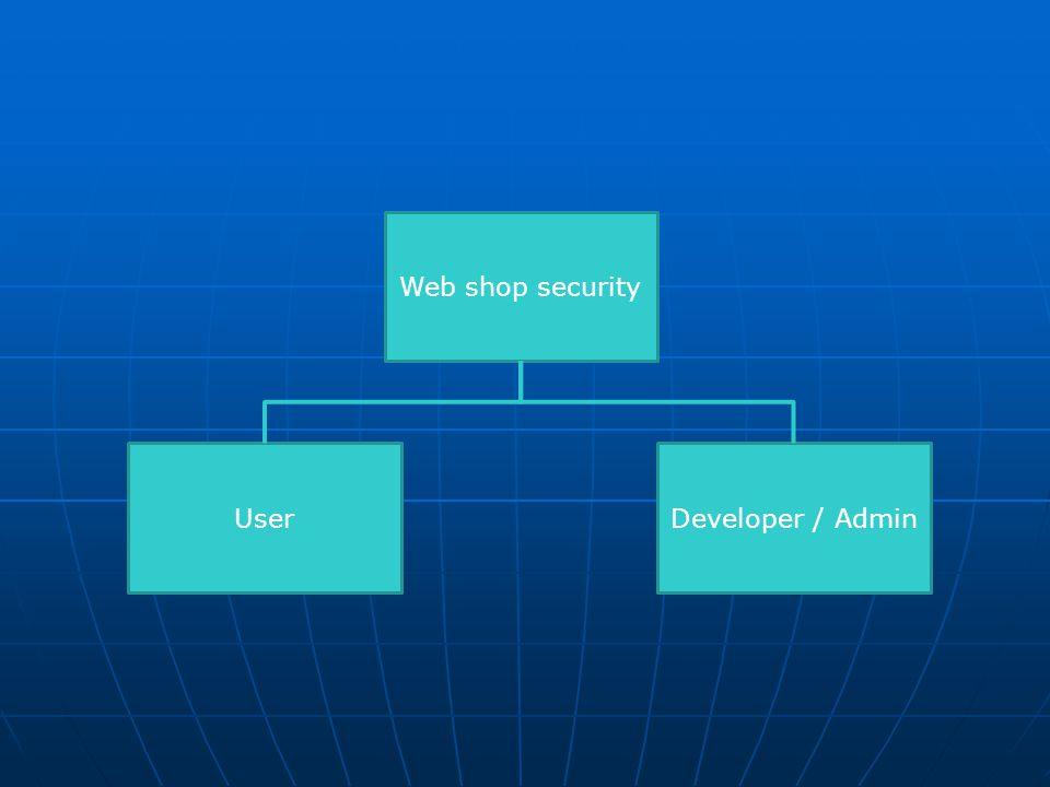 Web shop security User Developer / Admin