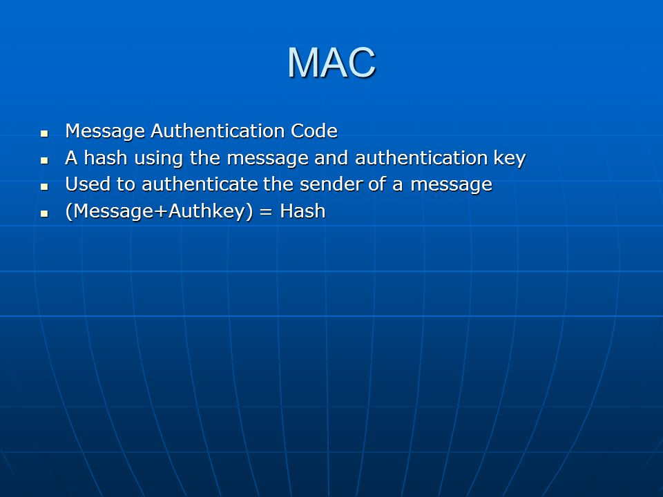 MAC Message Authentication Code