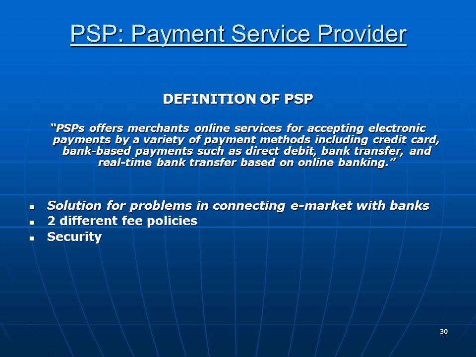 PSP: Payment Service Provider