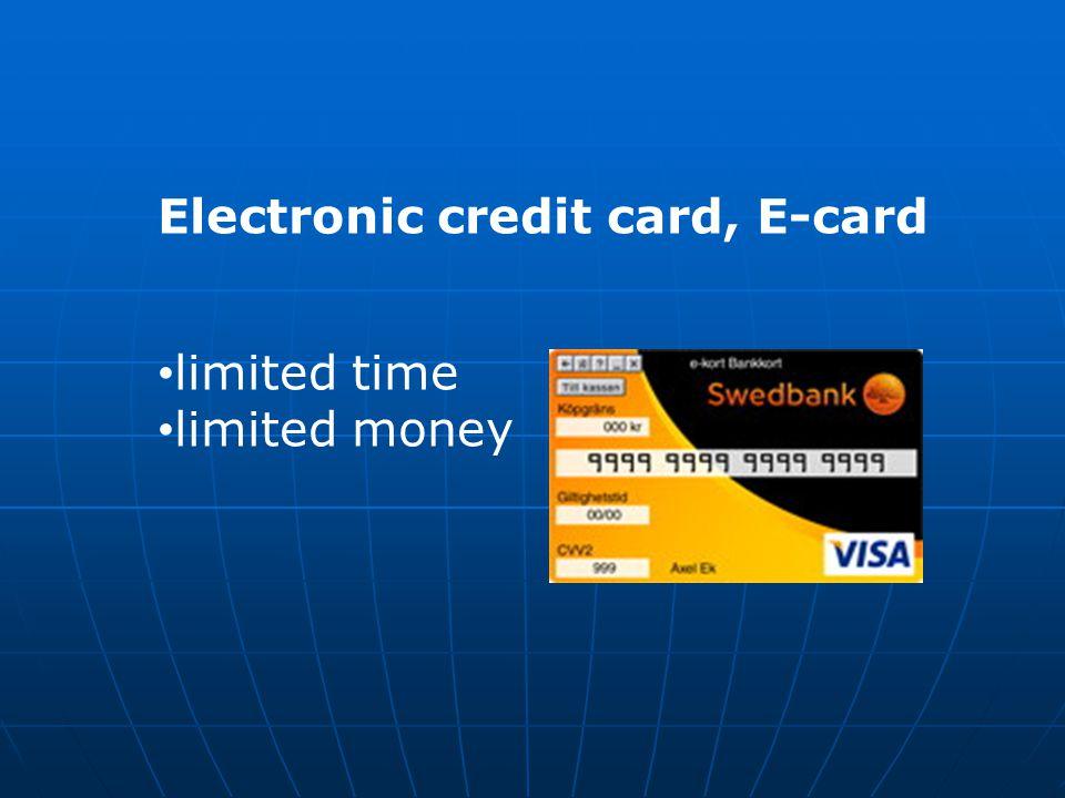 Electronic credit card, E-card