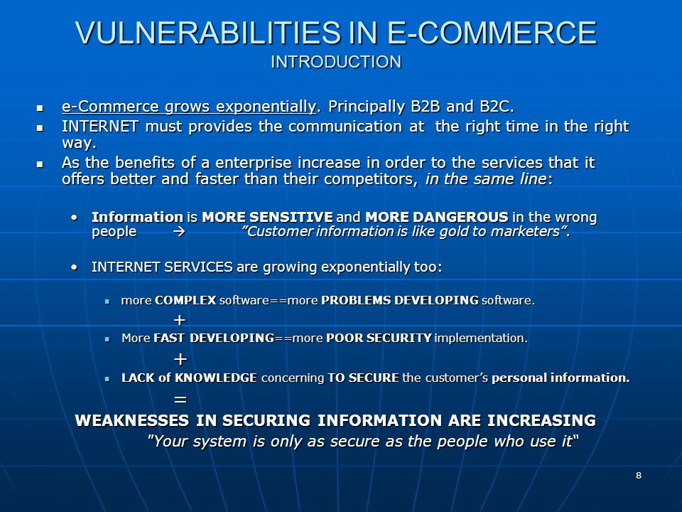 VULNERABILITIES IN E-COMMERCE INTRODUCTION