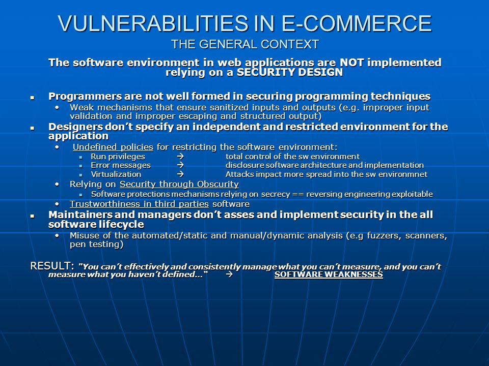 VULNERABILITIES IN E-COMMERCE THE GENERAL CONTEXT
