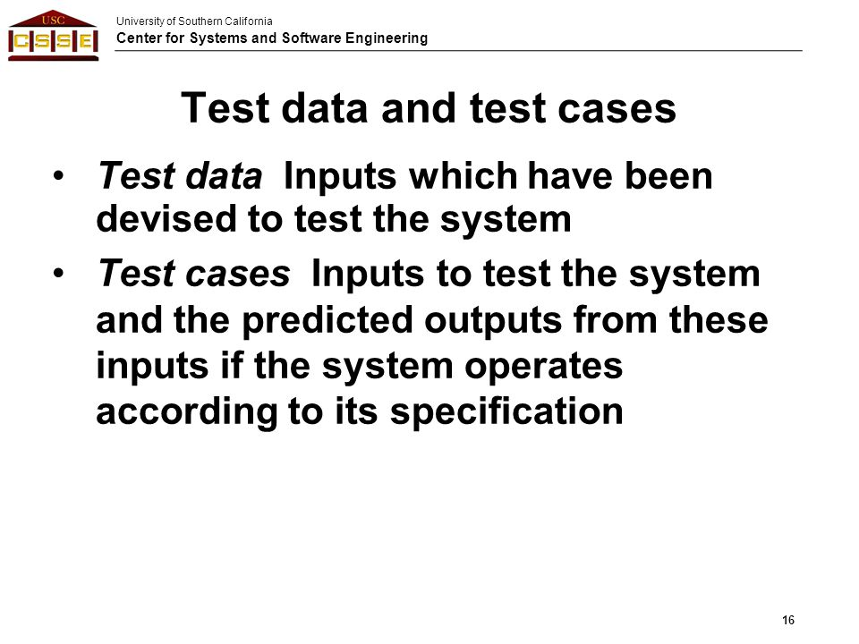 Test data and test cases
