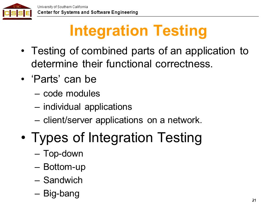 Integration Testing Types of Integration Testing