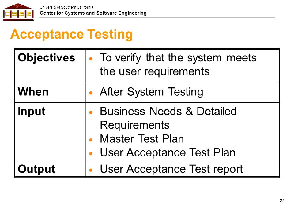 Acceptance Testing Objectives