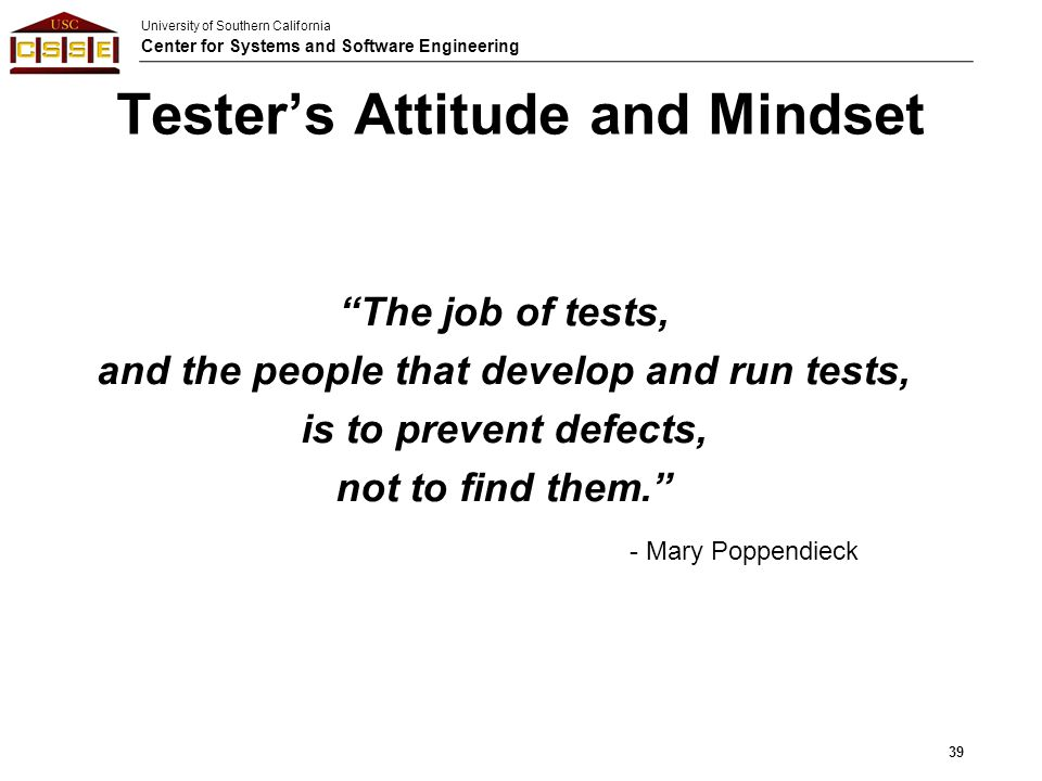 Tester's Attitude and Mindset
