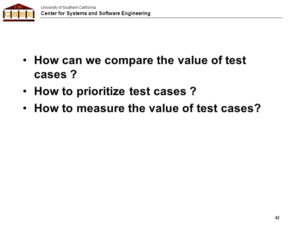 How can we compare the value of test cases