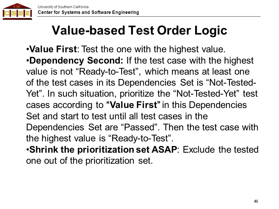 Value-based Test Order Logic