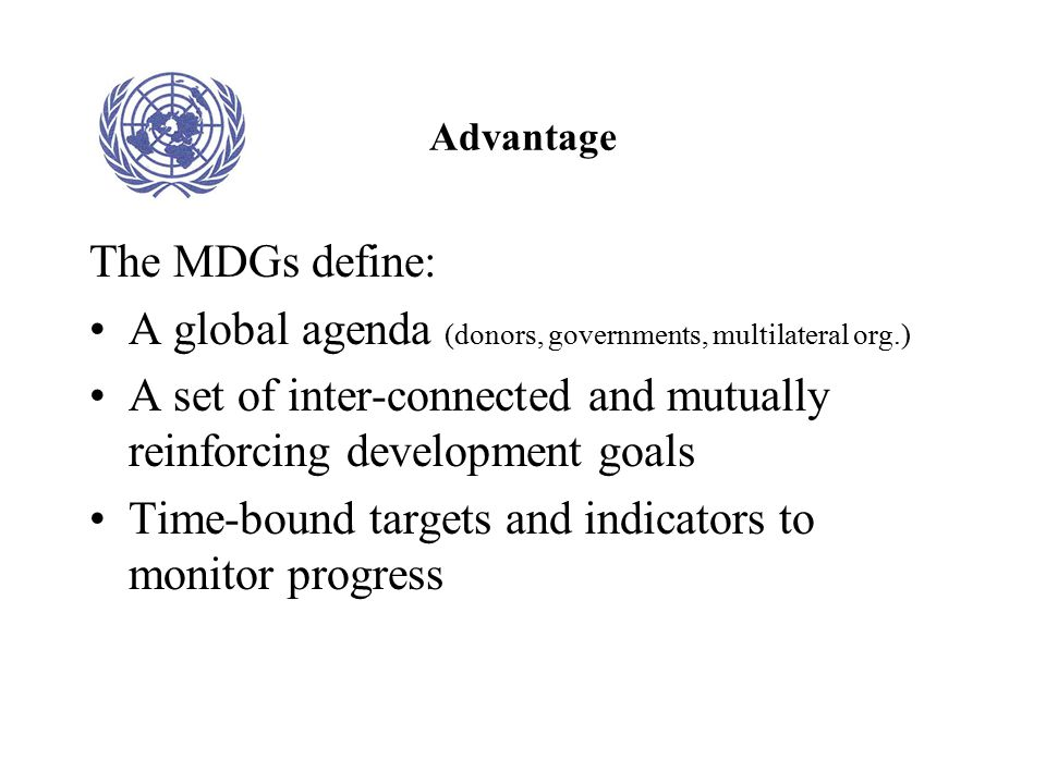 A global agenda (donors, governments, multilateral org.)