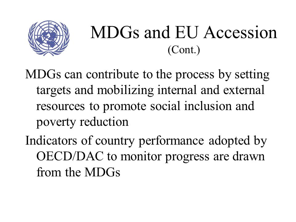 MDGs and EU Accession (Cont.)