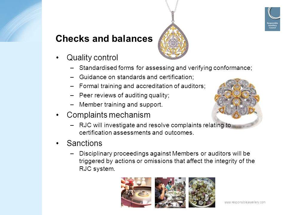 Checks and balances Quality control Complaints mechanism Sanctions