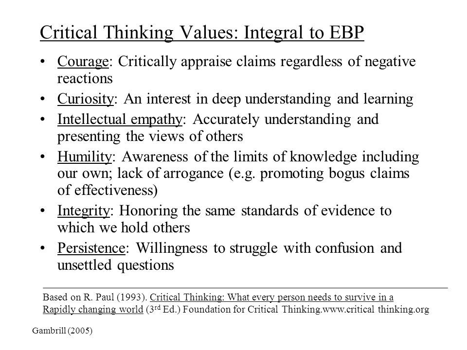 Critical Thinking Values: Integral to EBP