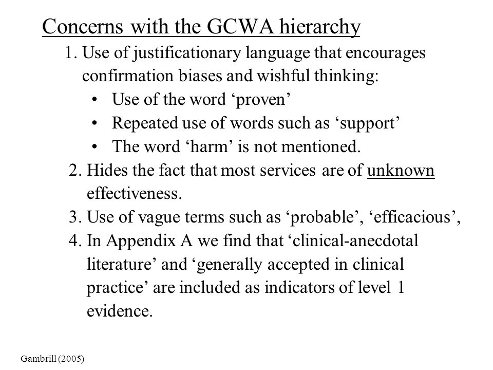 Concerns with the GCWA hierarchy