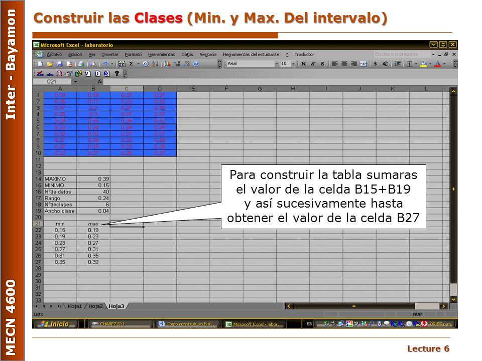 Construir las Clases (Min. y Max. Del intervalo)