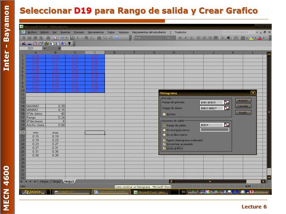 Seleccionar D19 para Rango de salida y Crear Grafico