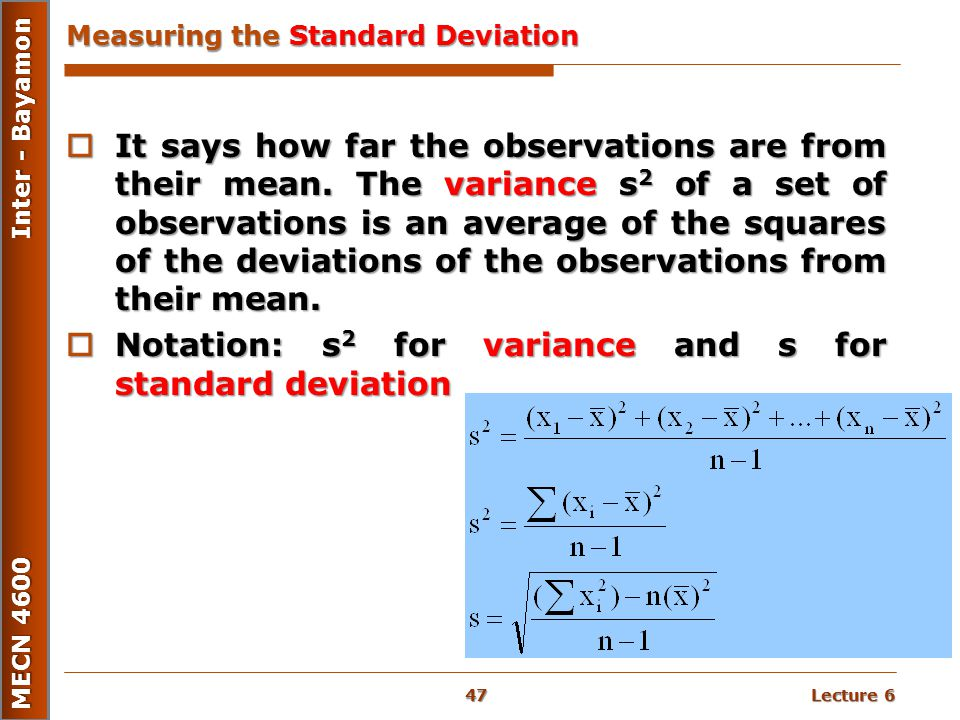 Measuring the Standard Deviation