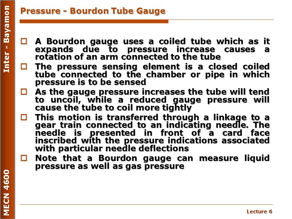 Pressure - Bourdon Tube Gauge