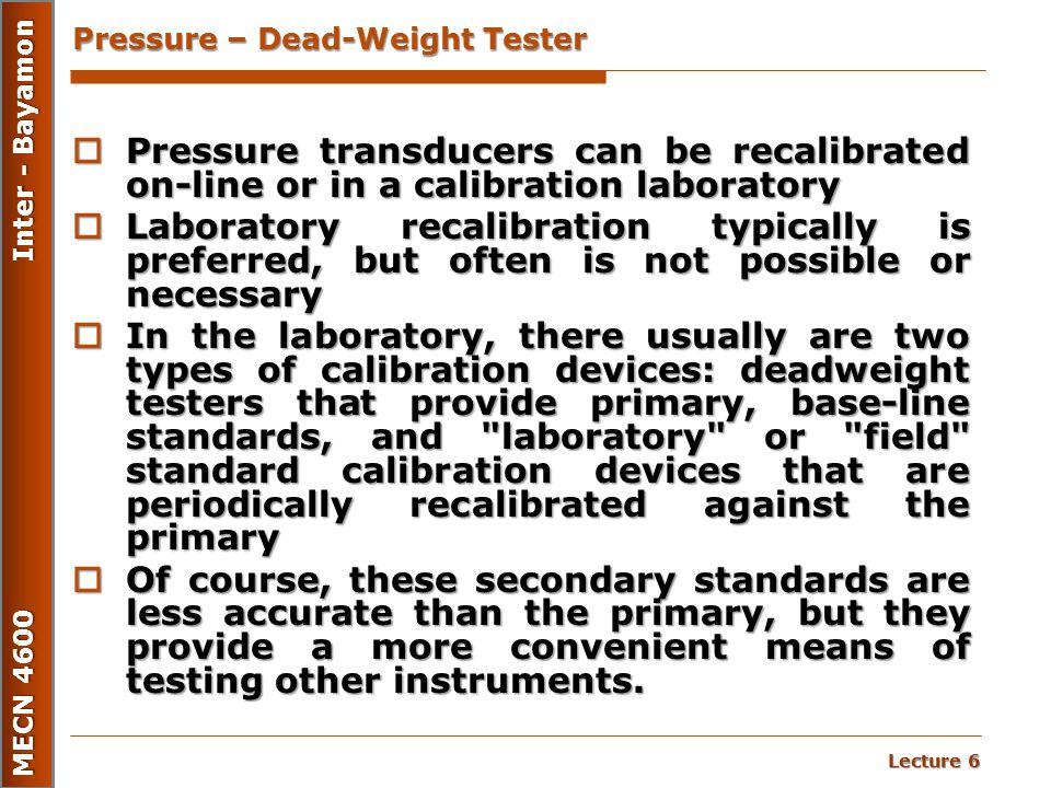 Pressure – Dead-Weight Tester