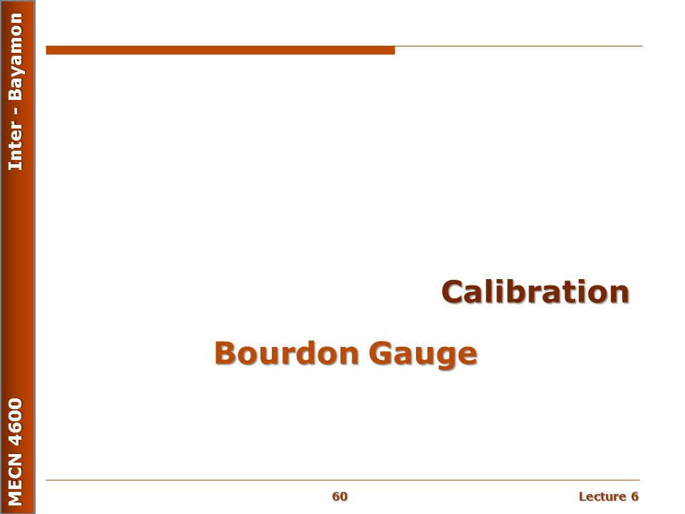 Calibration Bourdon Gauge