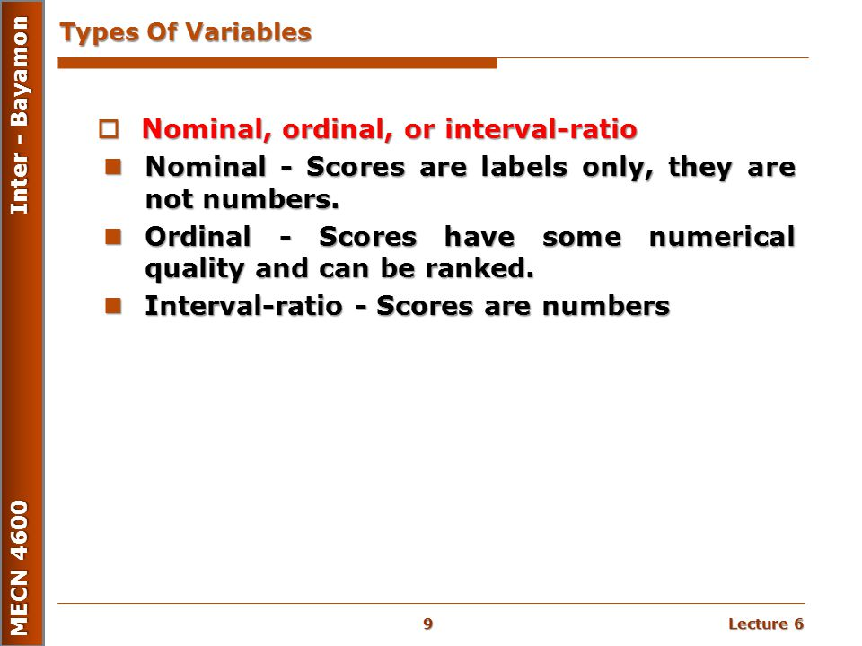 Nominal, ordinal, or interval-ratio