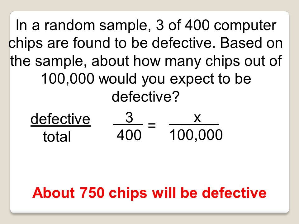 About 750 chips will be defective