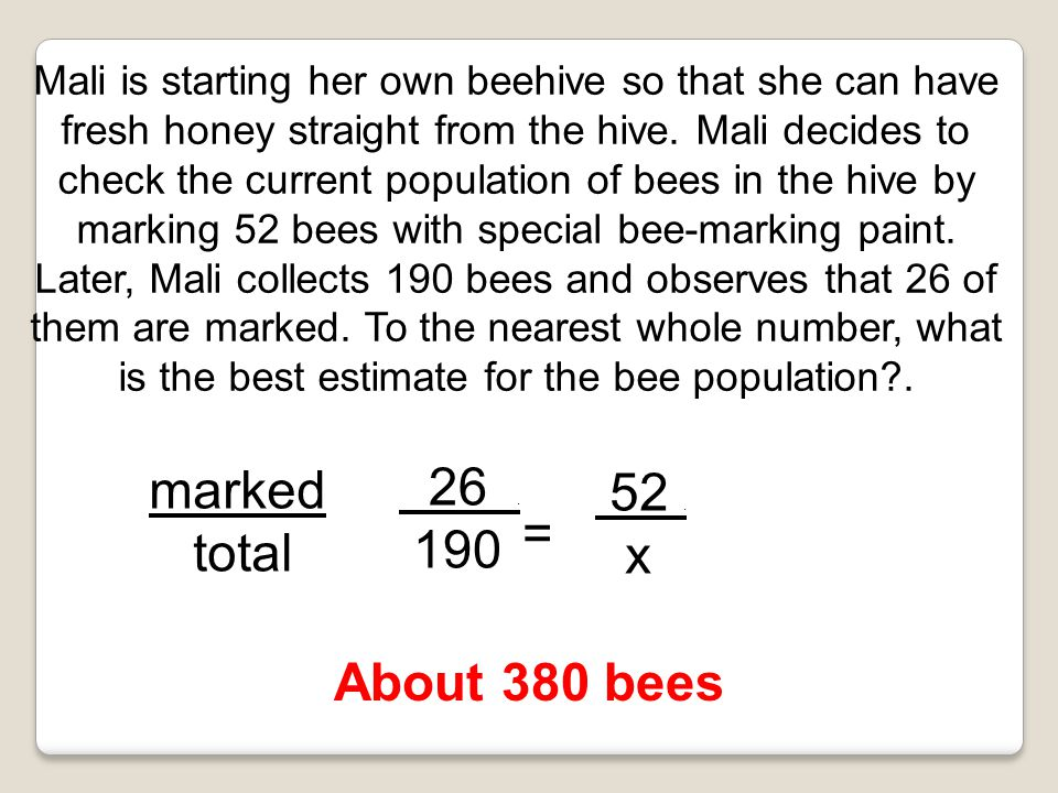 26 . marked 52 . total 190 x = About 380 bees