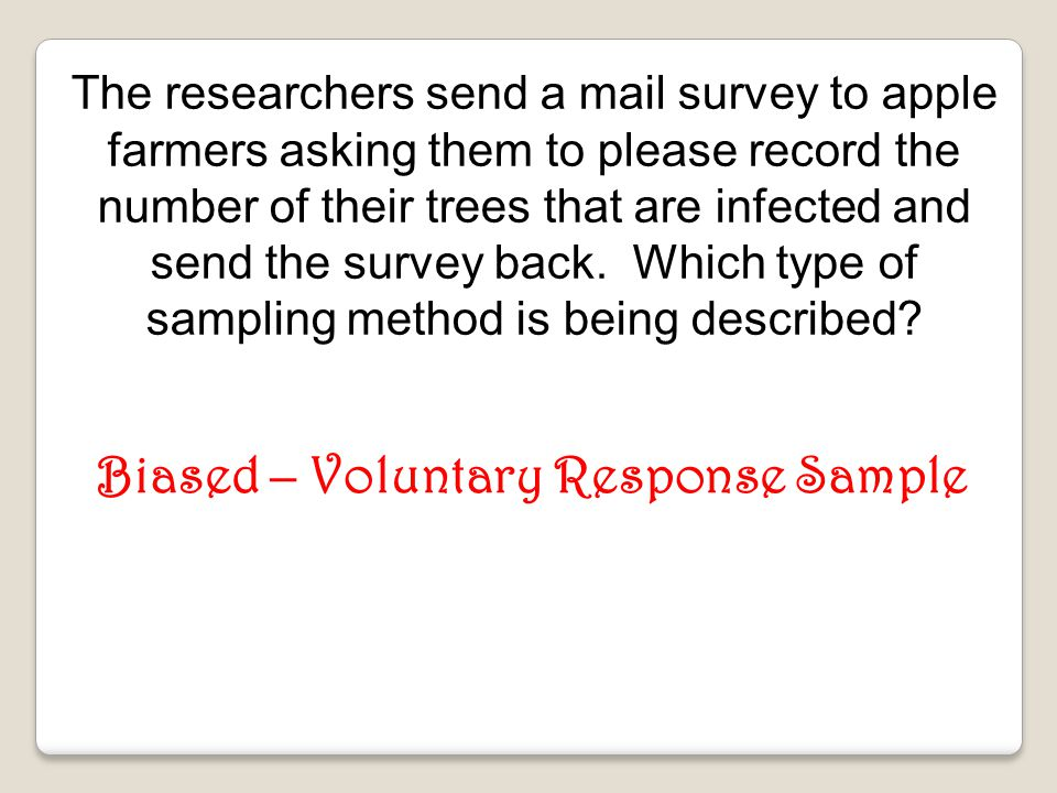 Biased – Voluntary Response Sample