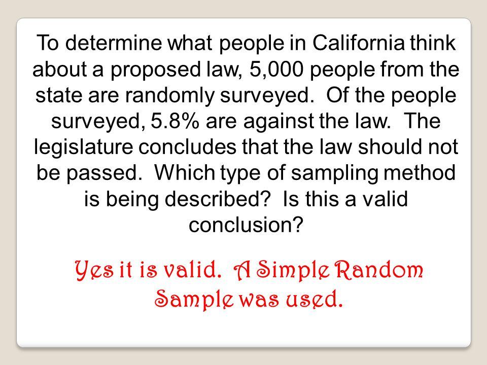 Yes it is valid. A Simple Random Sample was used.