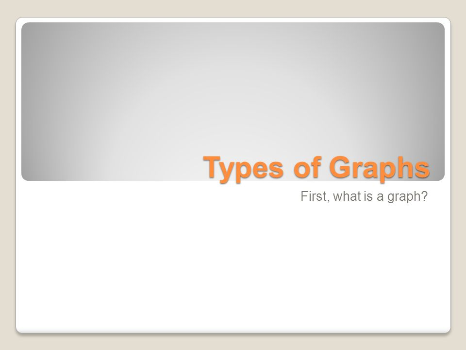 Types of Graphs First, what is a graph