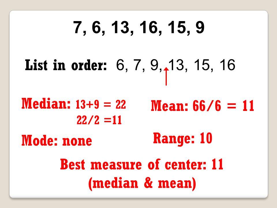 Best measure of center: 11