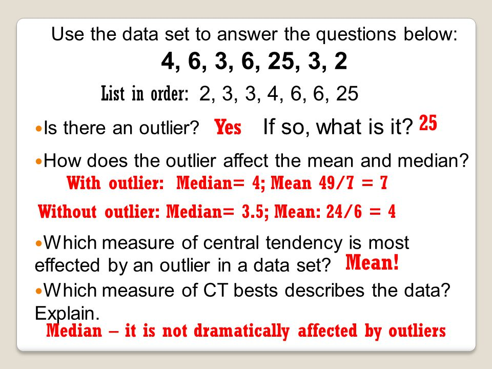 Use the data set to answer the questions below: 4, 6, 3, 6, 25, 3, 2