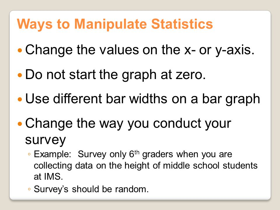 Ways to Manipulate Statistics