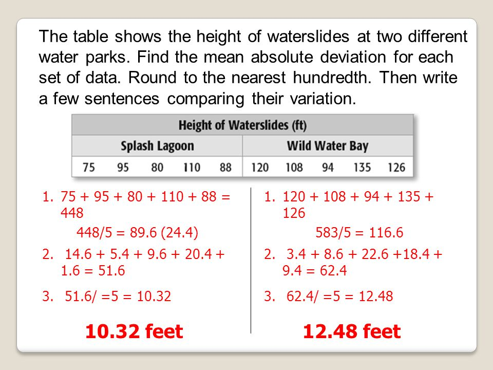 The table shows the height of waterslides at two different water parks