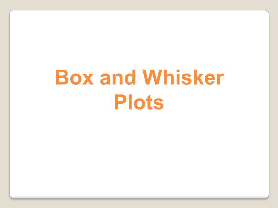 Box and Whisker Plots 99
