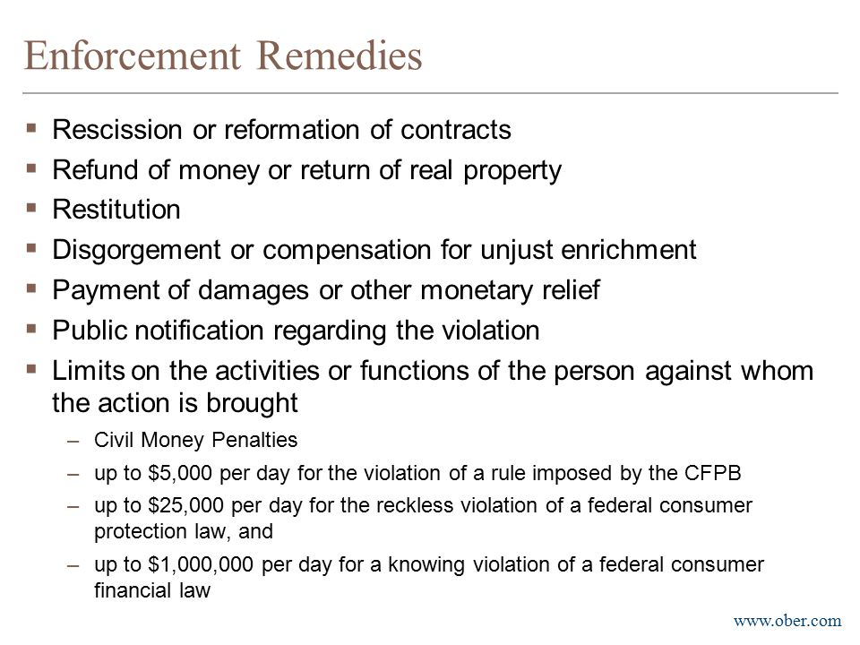 Enforcement Remedies Rescission or reformation of contracts
