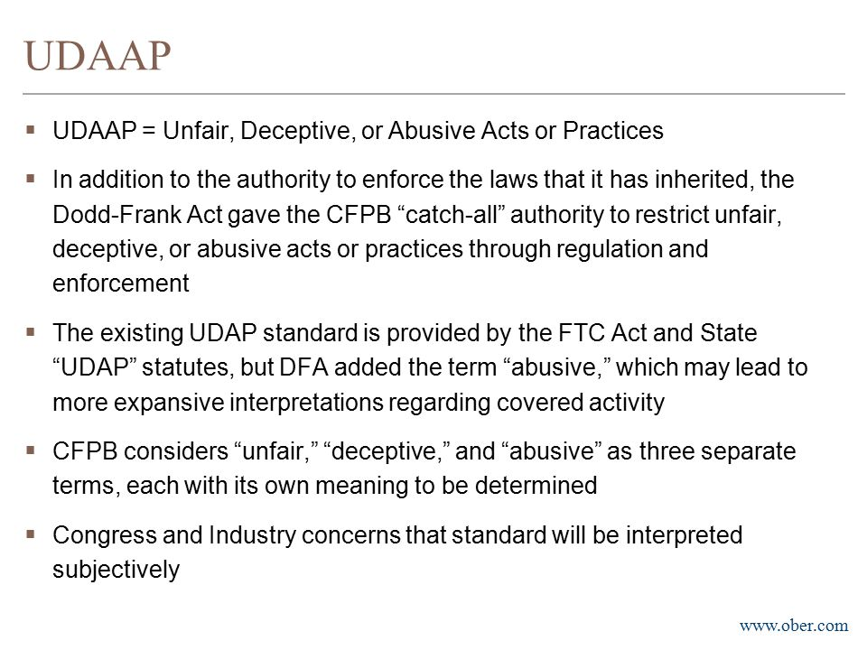 UDAAP UDAAP = Unfair, Deceptive, or Abusive Acts or Practices