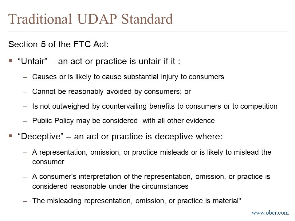 Traditional UDAP Standard