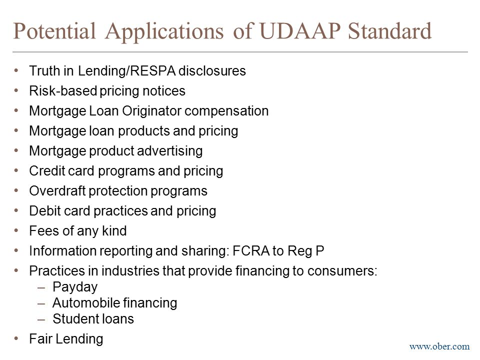 Potential Applications of UDAAP Standard
