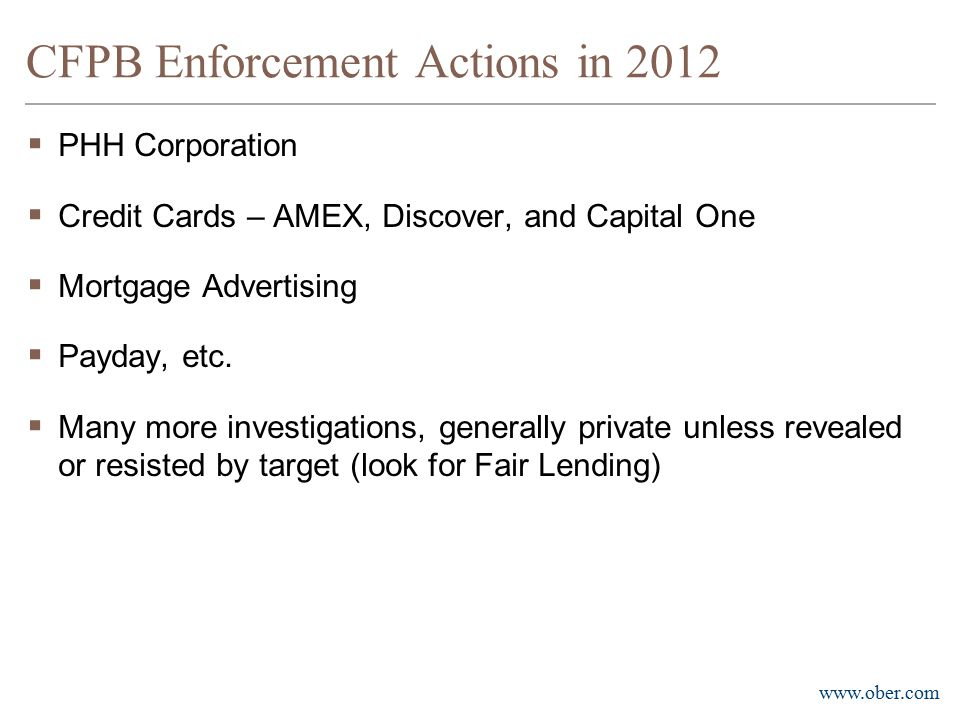 CFPB Enforcement Actions in 2012