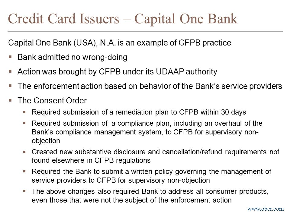 Credit Card Issuers – Capital One Bank